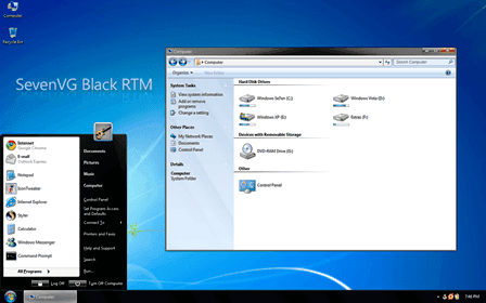 SevenVG Black, tema de Windows 7 para XP